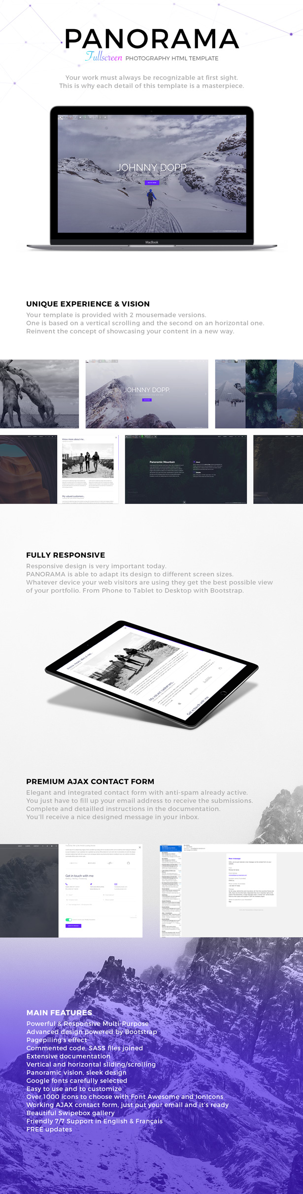 PANORAMA – Fullscreen Photography HTML Template (Photography)
